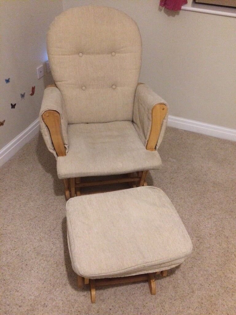 Baby feeding rocking chair and stool. Nursery furniture beige neutral colour. Great condition.