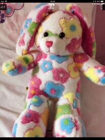 BUILD A BEAR BRIGHT FLORAL BUNNY RABBIT WITH OUTFIT