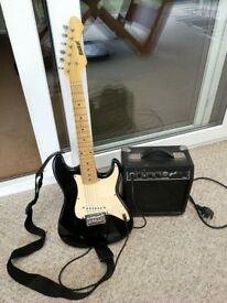 JUNIOR ELECTRIC GUITAR OUTFIT WITH AMPLIFIER LEAD AND STRAP