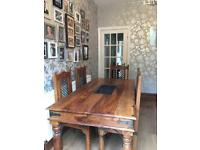 Sheesham Indian wood table 6 chairs