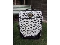 small dog print suitcase