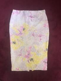 Light washed coloured white pencil skirt
