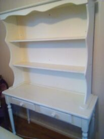 Cream dresser with shelves and two small drawers