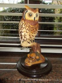 A LIMITED EDITION COLLECTIBLE WOODEN OWL CARVING BY FEATHERS OF KNYSNA SOUTH AFRICA