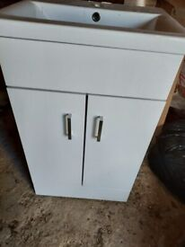 Ceramic hand wash basin and cabinet - good condition