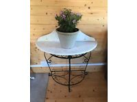Garden or home table / metal frame with marble top