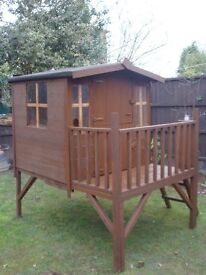 Children's wooden raised platform playhouse collection from Leigh less than 2yrs old