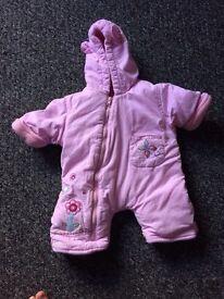 Pink new born pram suit