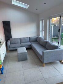 Corner sofa & footstool grey ikea