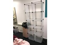 Interlocking Plastic Wardrobe Cabinet Open Storage and Organizer with Translucent Panel