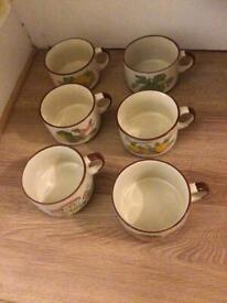 6 New Unused Vintage Esso Collection Retro Mixed Vegetables Stoneware Soup Bowls/Mugs