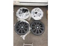 "NEARLY NEW 20"" BMW BLACK ALLOYS RRP 1400 with 2 NEW TYRES + 2 7mm TYRES 5 series 6 series 7 series"