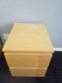 Malm 2 drawer bedside unit