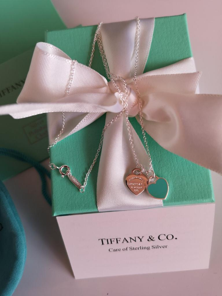 596d98e7c 💙Authentic Tiffany&Co Return to Tiffany Double BLUE Heart Tag Sterling  Silver Necklace/Pendant 💙