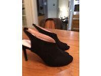 NEXT Black Suede Peeptoe sling back shoes worn once size 5