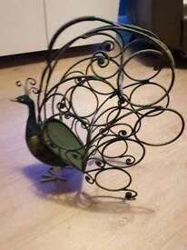 Decorative peacock wine rack
