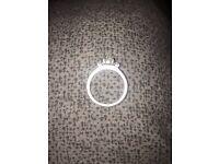 Three diamond piece, silver medium size ring