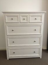 White Tallboy & Bedside Table Combo - $350 total. Negotiable South Melbourne Port Phillip Preview