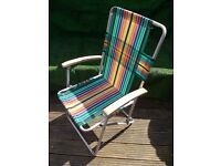 Retro Camping folding high back striped garden deck chair VW Camper