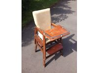 Child's high chair, solid wood