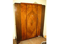 Stunning large antique 1930s double wardrobe - rosewood UK-made Waring & Gillow