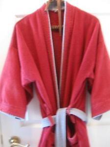 LARGE COZY DEEP BURGANDY LARGE ROOMY MENs / LADIES TERRY DRESSING ROBE