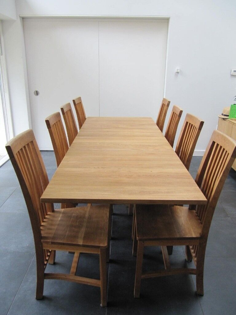 Set Of 8 Contemporary Solid Oak Dining Chairs In Westbury Park