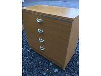 Sturdy four drawer chest on castors