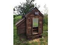 Small chicken coop with Chicken guard opening system
