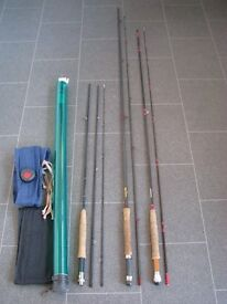 FLY FISHING TACKLE - THREE RODS, FIVE REELS, FLIES & ACCESSORIES