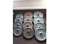 140KG cast iron weights with bench and bars