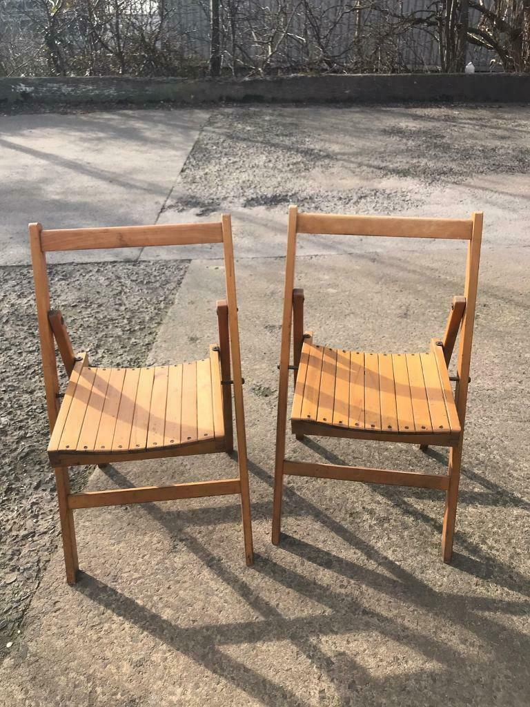 Pair of vintage fold up chairs newcastle
