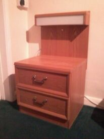 2 draw light oak bedside cabinets with strip light