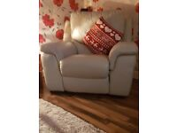 Lovely leather sofa and chair both recliners and really comfy