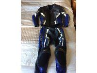Wolf Kangaroo 2 Piece motorbike Leathers Blue / Black / White / Silver