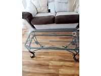 Coffee Table Glass and Wrought Iron