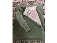 1 green curtain with tie back