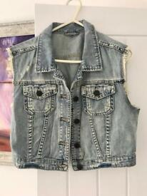 Topshop denim sleeveless jacket size 10