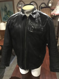 Great Quality Classic Vintage Mens Black Real Leather Classic Style Jacket Crafted By Angel's -Large