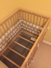 Baby cot (120x60) with mattress and protection cover + Free Ikea Bumper(only 5 month old)