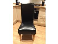 4x real leather chairs with oak legs