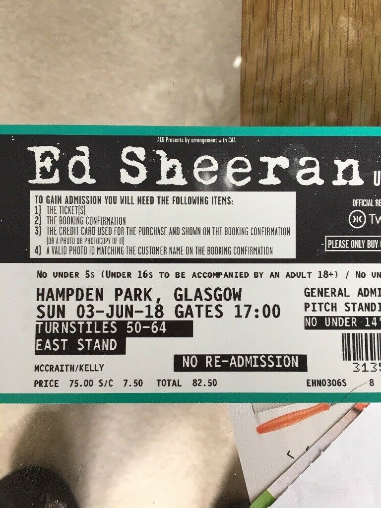 2 x Ed Sheeran Tickets (Standing) for Sale - Glasgow **REDUCED PRICE**