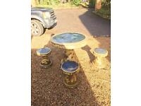 Chinese style ceramic 4 x garden stools and table set
