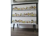Vintage Retro Chest of Drawers with Laura Ashley Garden Birds Decoupage