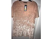 Brand new M&S pink crushed velvet top Size 16