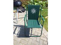 Green Folding garden 4 x Chairs