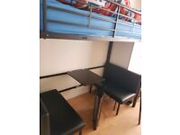 Modern black metal frame bunk beds excellent condition with mattress