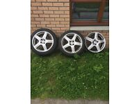 """Momo Alloys 17"""" only 3 other one was badly damaged need a good tidy up one has good tread on tyre"""