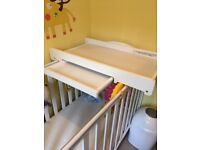 Mothercare cotbed, with mattress, with top changer