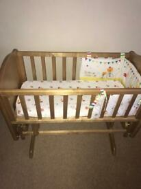 Baby Wooden Swinging Crib and Mattress (Used but in Good Condition)